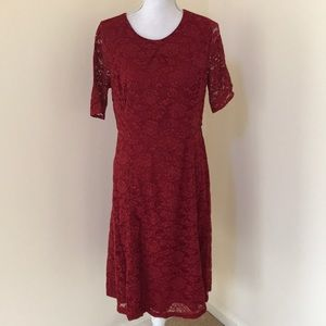 Talbots SZ 8, red lace overlay S/S dress